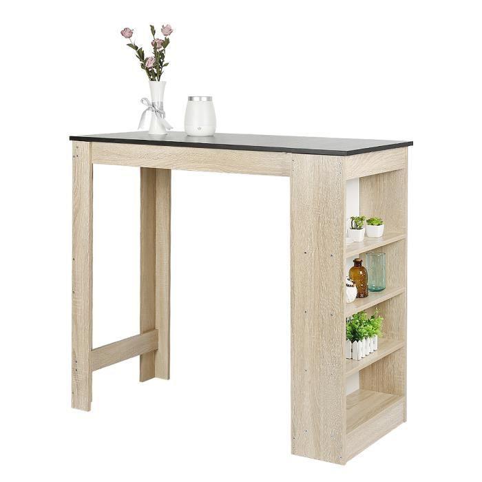 FIRNOSE Table Haute Table de Bar avec Rangement avec 4 Étagères, Table Bistro Haut - 115 x 50 x 103 cm Noir et Chêne