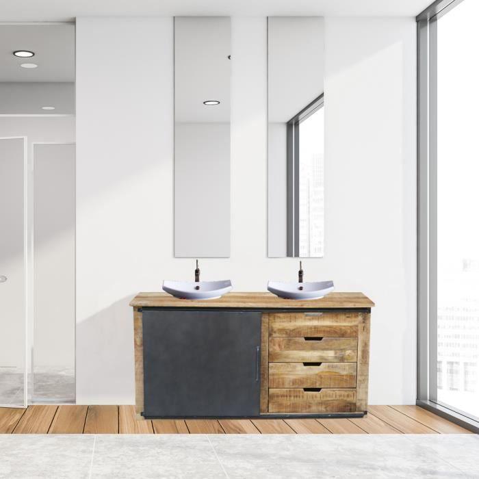 Meuble de salle de bain portes coulissantes métal et bois 150cm pour 2 vasques -Caractère- Meuble House Noir