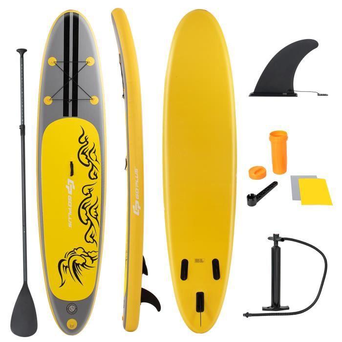 Stand Up Paddle Gonflable 335x76x15cm avec Accessoires Pagaie,Pompe Haute Pression Kit de Réparation, Leash, Aileron Amovible Sac de