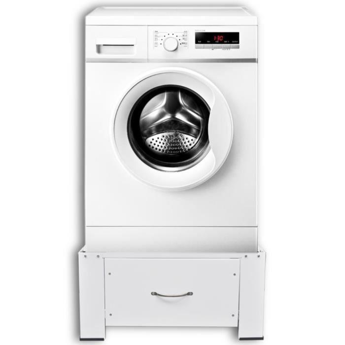 Accessoires pour lave-linge et seche-linge Socle pour machine a laver avec tiroir Blanc