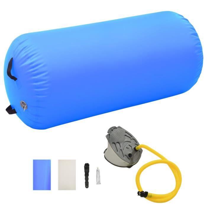Luxueuse-Gonflable Air Roller -Rouleau gonflable de gymnastique Tapis Yoga Cylindre de Gymnastiqueavec pompe 120x90 cm PVC Bleu♫2523
