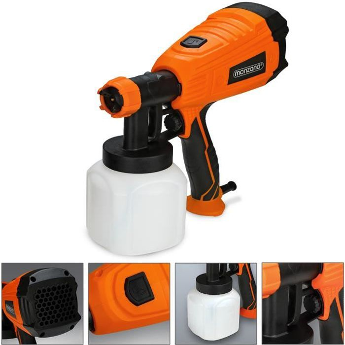Pistolet pulvérisateur peinture électrique 500W couleur vernis buse démontable mur 3 modes de pulvérisation 800 ml/min 0,2-0,3 bar