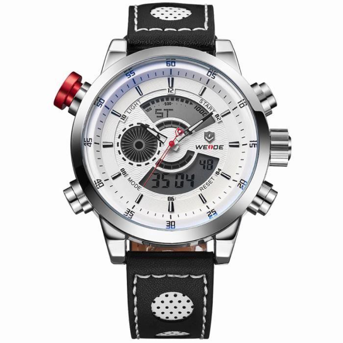 WEIDE WH-3401 Montre-bracelet de sport avec chronomètre / date semaine alarme bande PU (blanc) WRISTWATCH