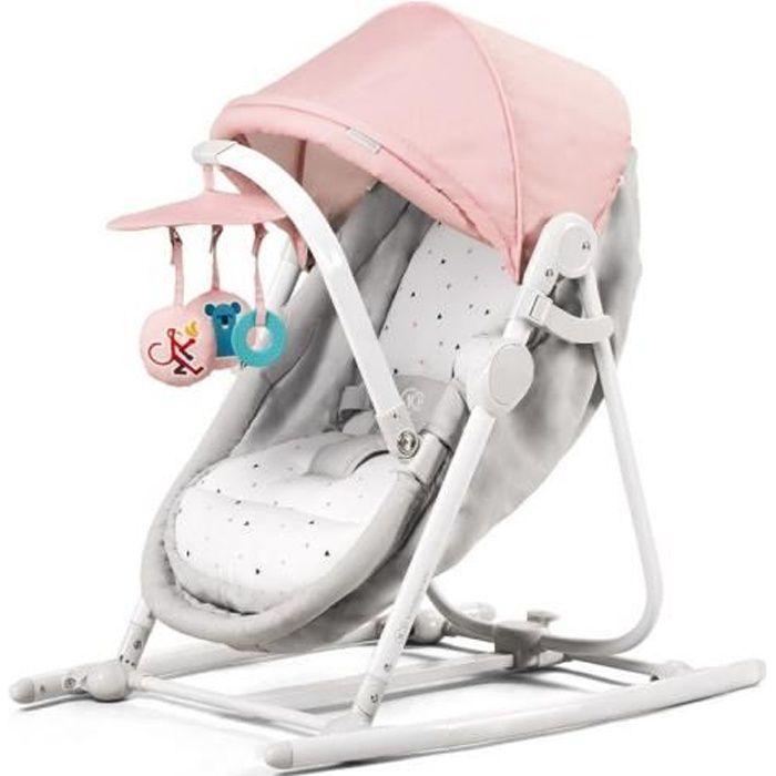 Berceau KINDERKRAFT UNIMO - 5 en 1 - Balancelle, transat, siège bébé pliable - Coloris : rose