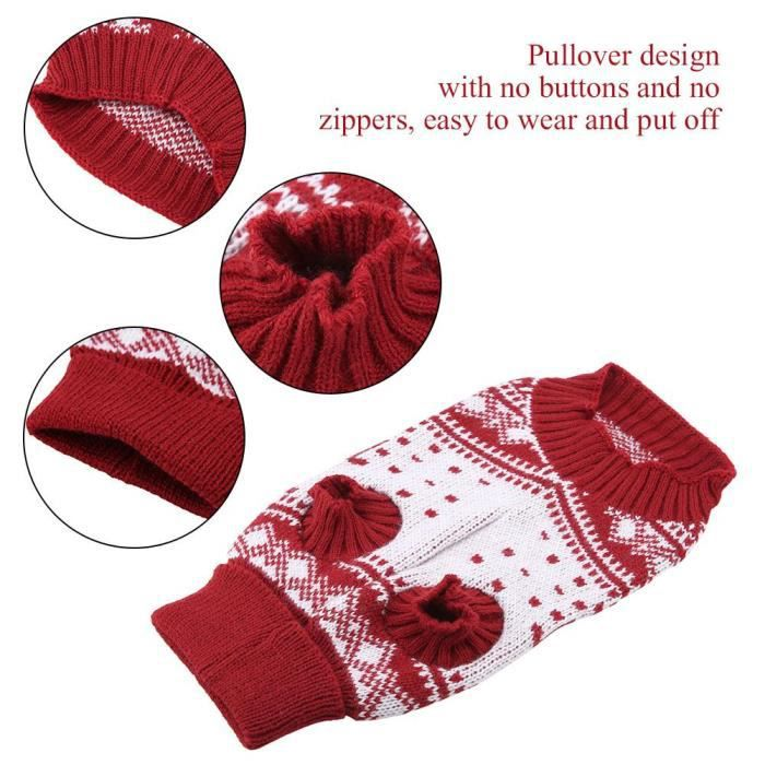 Pull Gilet,Pull pour chiens de noël à la mode Vêtements chauds, chiots chats pull Type manteau d'hiver rouge 123 - Type Rouge-S