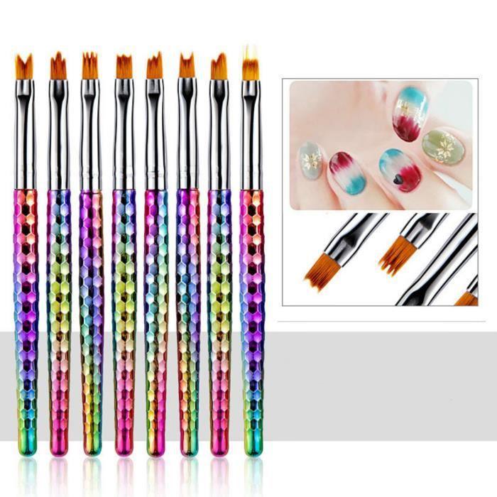Pinceaux Ongles Pour Nail Art Gradient, Kit De Brosses Ongles Gel, Ensemble De Pinceaux Accessoires Pour Ongles - 8Pcs