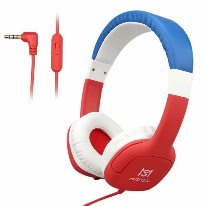 New Casque Enfant Audio Filaire - Réglage du Volume Limité - Microphone - Trou de partage Audio - pour Enfant 3-12 Ans