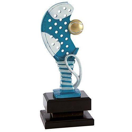 PALLART 7445 -ndash 3 Trophée de Sport avec motif P cforwardslashcorrea et raquette de padel balle 24 cm, Bleu, Taille unique -
