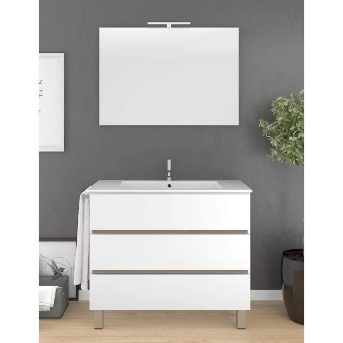 Meuble de salle de bain BALDER 70CM Blanc avec plan vasque et miroir. Avec porte serviettes en cadeau!!!