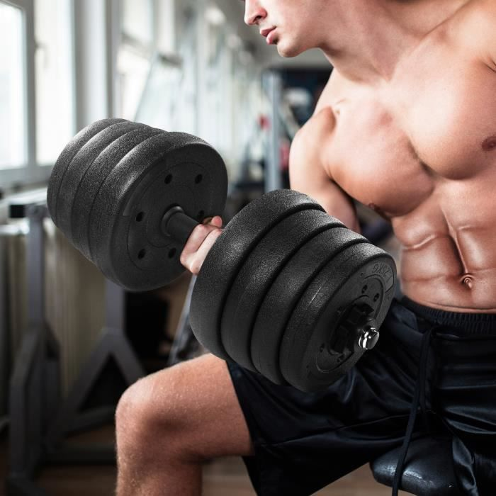 BESPORTBLE Haltères réglables de 30kg, indispensables pour la perte de poids et la remise en forme (noir)(Expédition du France)