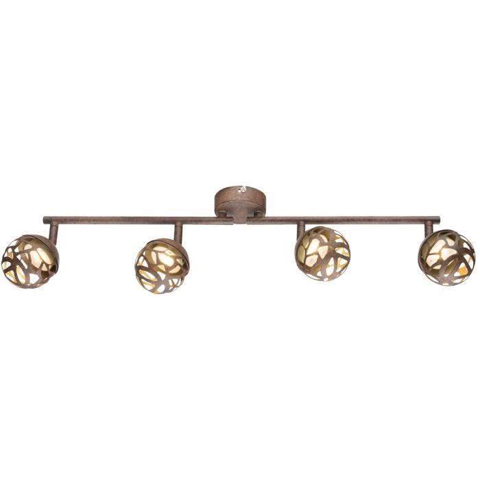 Réglette 4 spots LED OHIO en métal couleur rouille