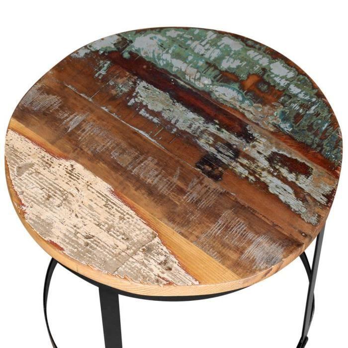 Homgeek Lot de 2 Table basse gigognes Bois massif Rond Design et Modernes