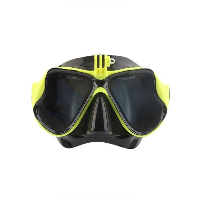 Masque de Plongée Sous-Marine avec Masque de Plongée avec Tuba pour Gopro, Jaune