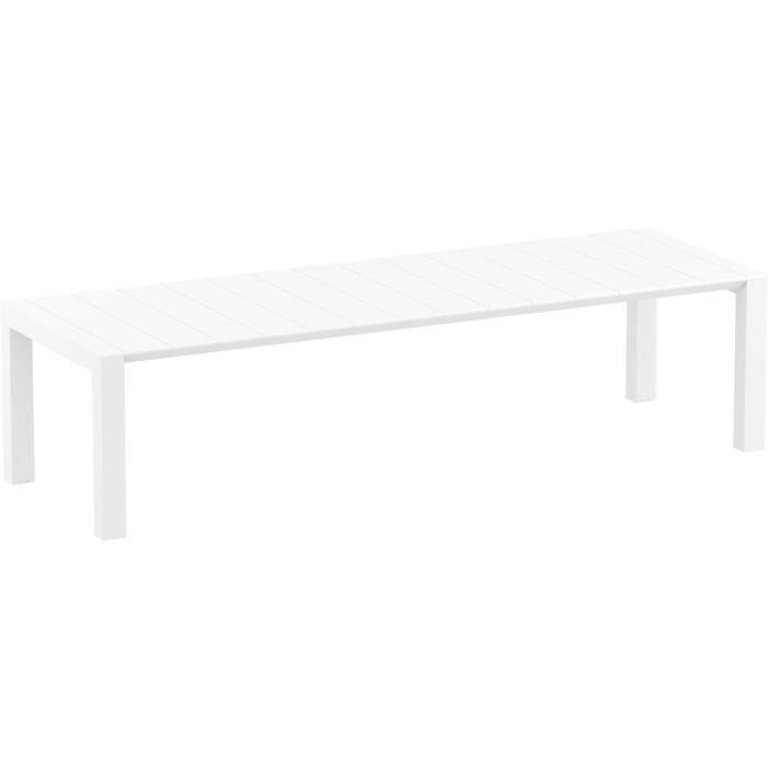 RESOL Table extensible jardin Extérieur 100x260 Extendable / 300 cm Couleur blanc Tables à manger de jardin Protection UV