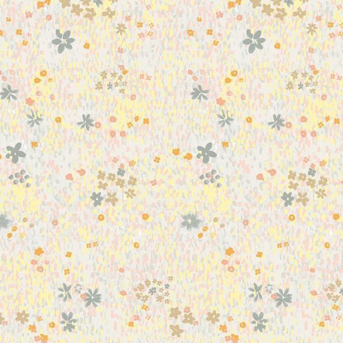 Tissu Coton léger à la coupe - Fleurs pastel sur fond Gris clair - Détails Métallisés - Par 10 cm
