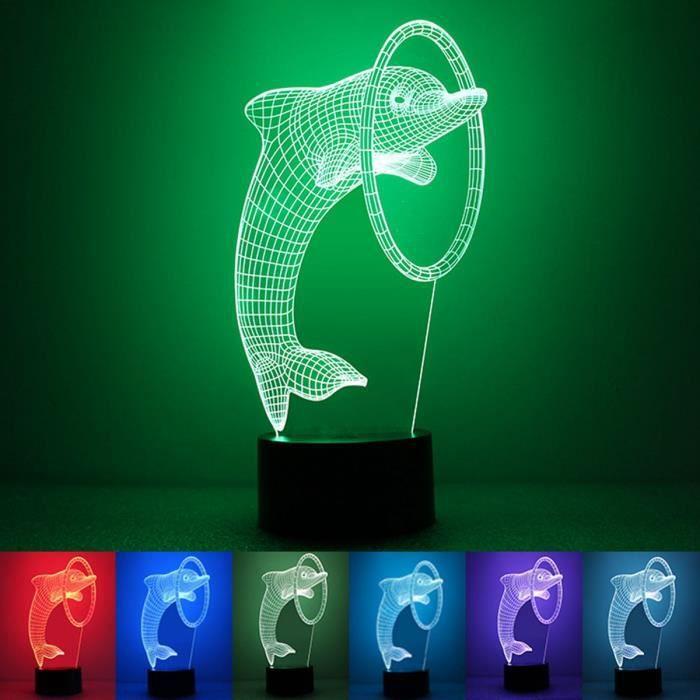 7 couleurs dauphins 3D tactile led