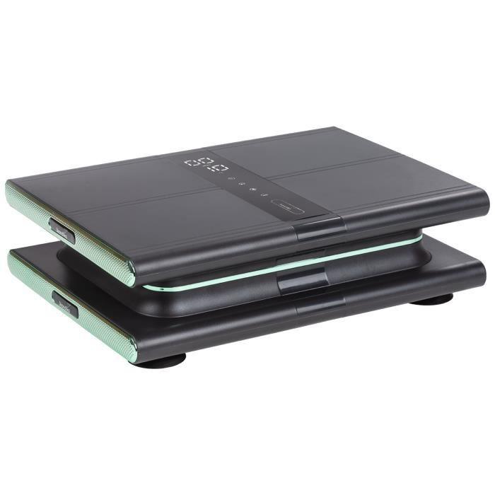 Skandika Sunna - Plateforme vibrante Moderne compacte - jusqu'à 20 Hz - Télécommande - 20 Niveaux - 3 + 1 progr. - Gris/Vert