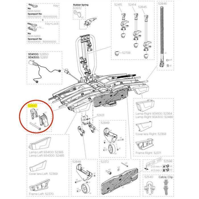 Transporteurs Pièces détachées Thule Pump Buckle Kit Easyfold Xt 933 52847 - Taille Unique - Noir