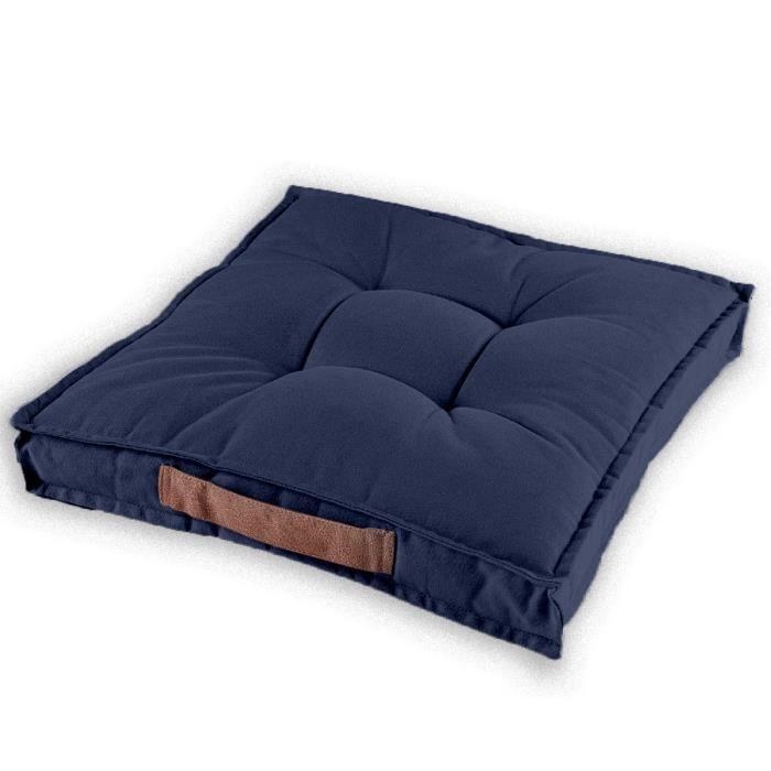 Coussin de sol QUIMPER 45-45-12 cm - 100% coton Bleu Jean
