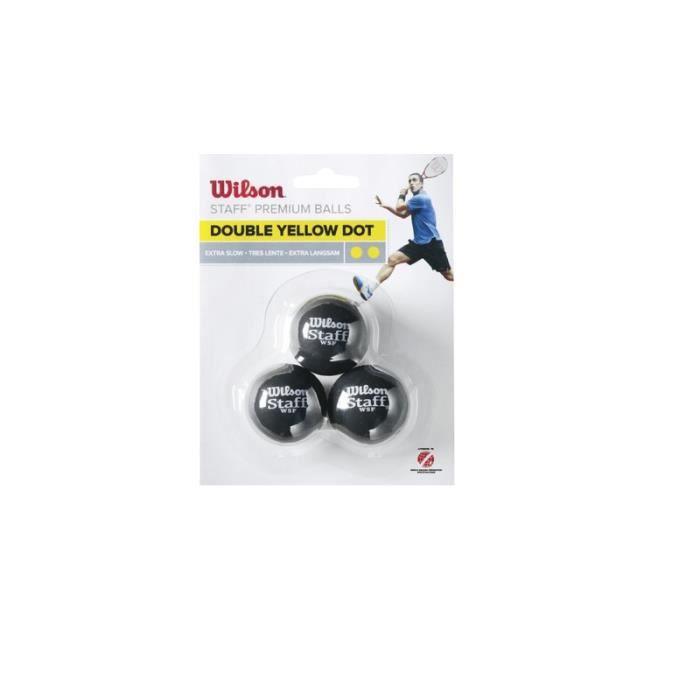 Lot de 3 balles Wilson Staff squash 2 points jaune - noir/jaune - TU