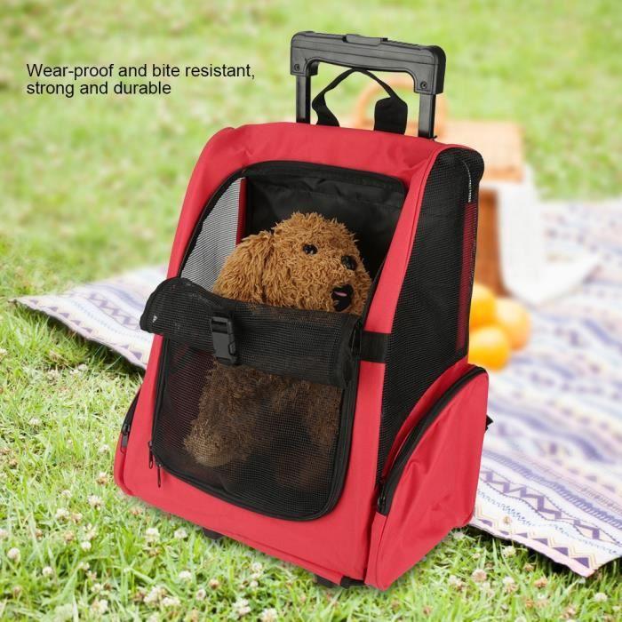 Valise trolley Sac à dos pour animaux de compagnie - rouge