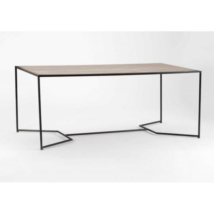 table a manger industriel bois et m tal noir achat. Black Bedroom Furniture Sets. Home Design Ideas
