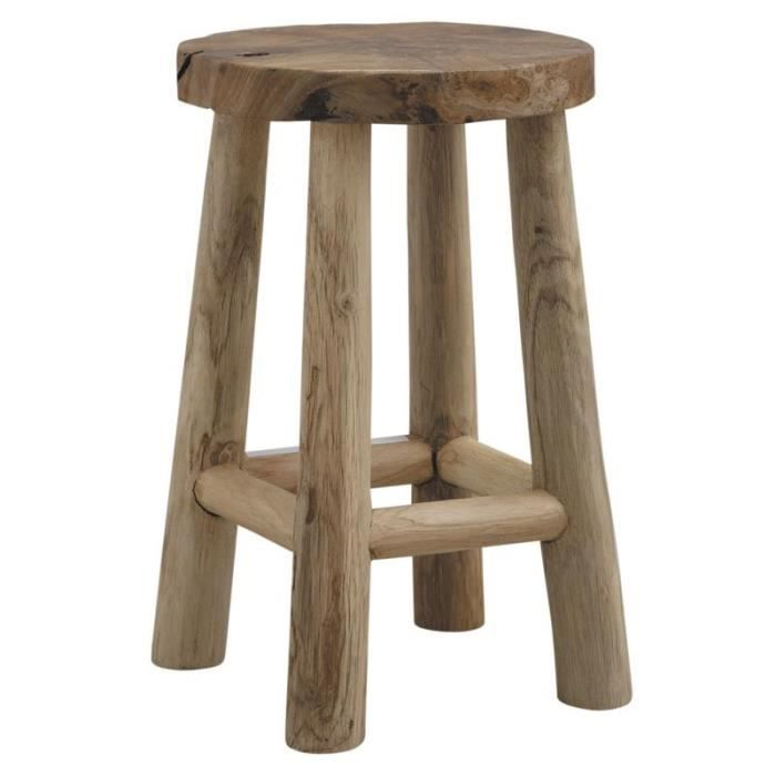 tabouret rond en bois teck rustique chalet achat vente tabouret bois teck cdiscount. Black Bedroom Furniture Sets. Home Design Ideas