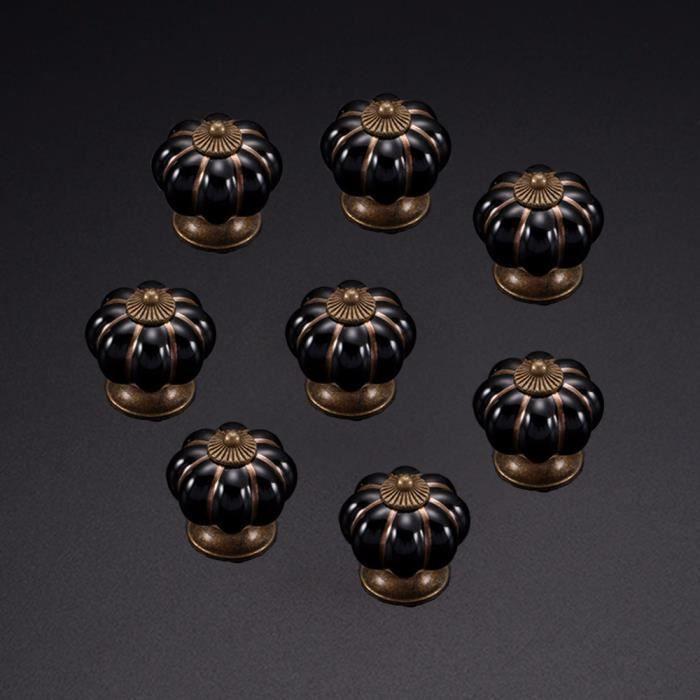 Céramique Vintage Bouton Commode Poignée Garde-robe Cabinet 6pcs Noir