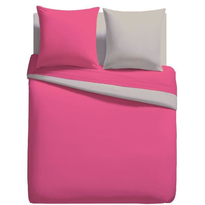parure linge de lit housse de couette 240cm x 220cm 2 to 63 cm x 63 cm unie bicolore fuschia. Black Bedroom Furniture Sets. Home Design Ideas