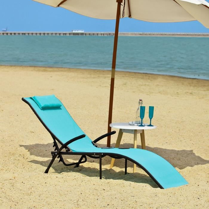 transat banc bain de soleil plage chaise longue bleu. Black Bedroom Furniture Sets. Home Design Ideas