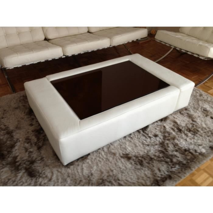 Table basse en cuir italien ZANA, blanc - Achat / Vente table ...