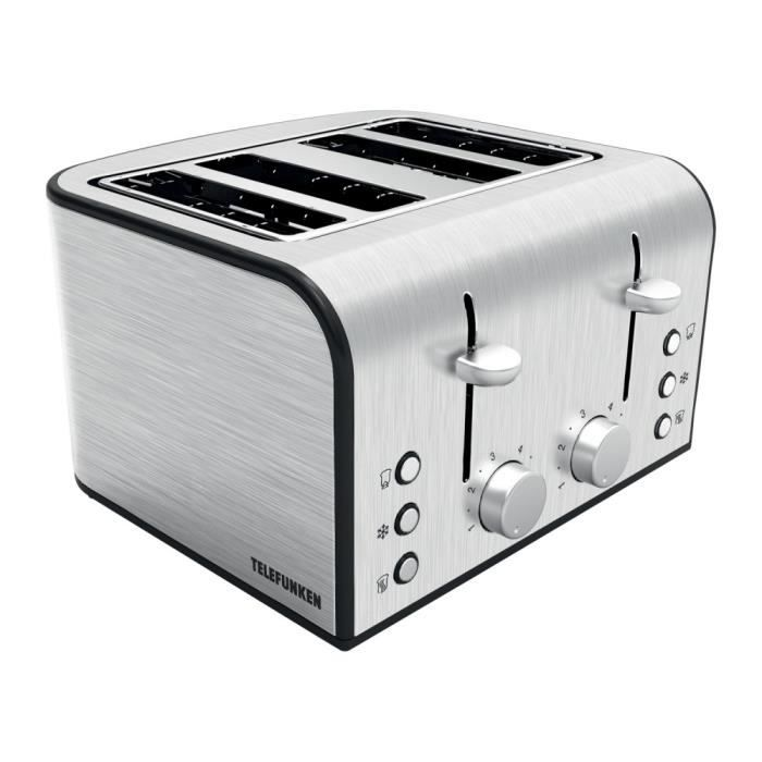 grille pain inox telefunken 4 fentes 1600 w inox achat. Black Bedroom Furniture Sets. Home Design Ideas