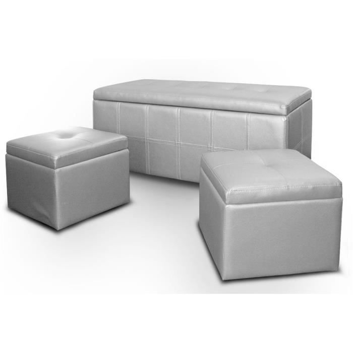 banquette coffre 2 poufs pu argent capitonn banco achat vente banquette cuir pu. Black Bedroom Furniture Sets. Home Design Ideas