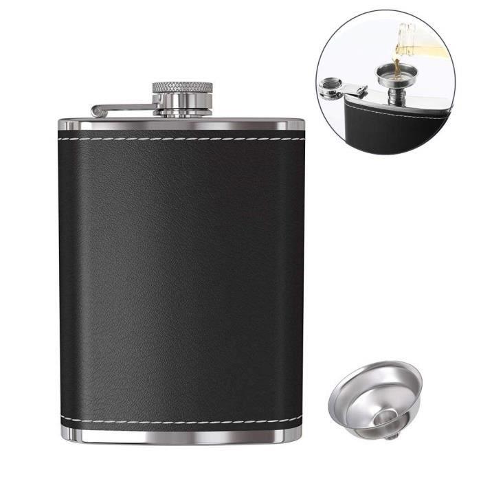 Flasque pour alcool mat 226,8 g en acier inoxydable anti-fuite avec entonnoir pour homme