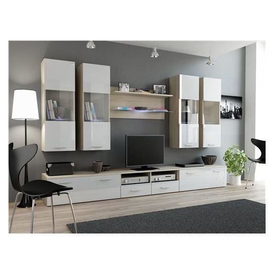ensemble meubles tv design sirus 1 bois clair et blanc. Black Bedroom Furniture Sets. Home Design Ideas