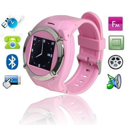 montre t l phone portable rose tactile fm mp3 montre. Black Bedroom Furniture Sets. Home Design Ideas