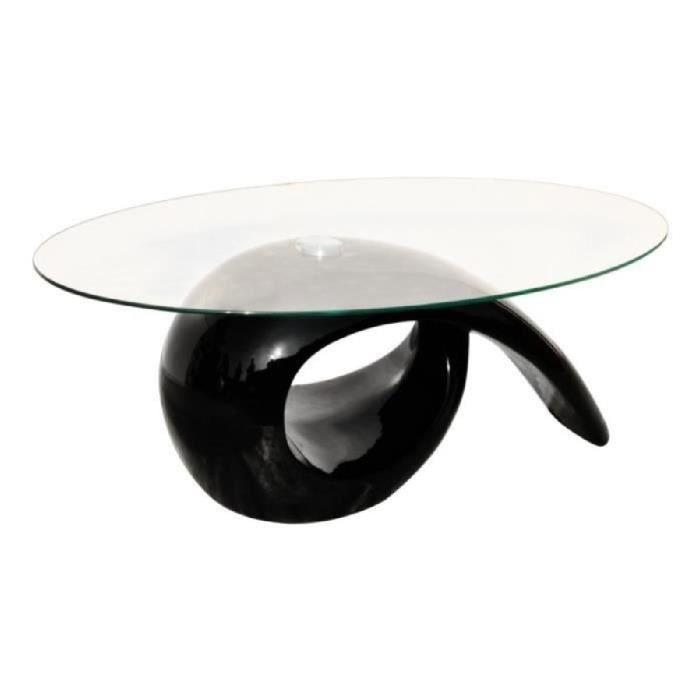 TABLE BASSE Table basse noire + plateau en verre Maja+
