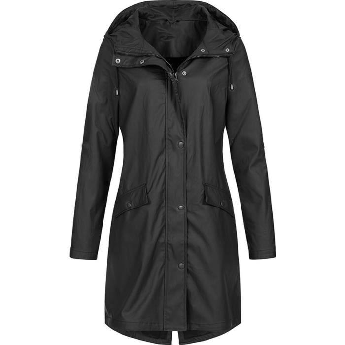 Pluie solide femme Veste extérieure imperméable à capuche Manteau long manteau coupe-vent Noir ...