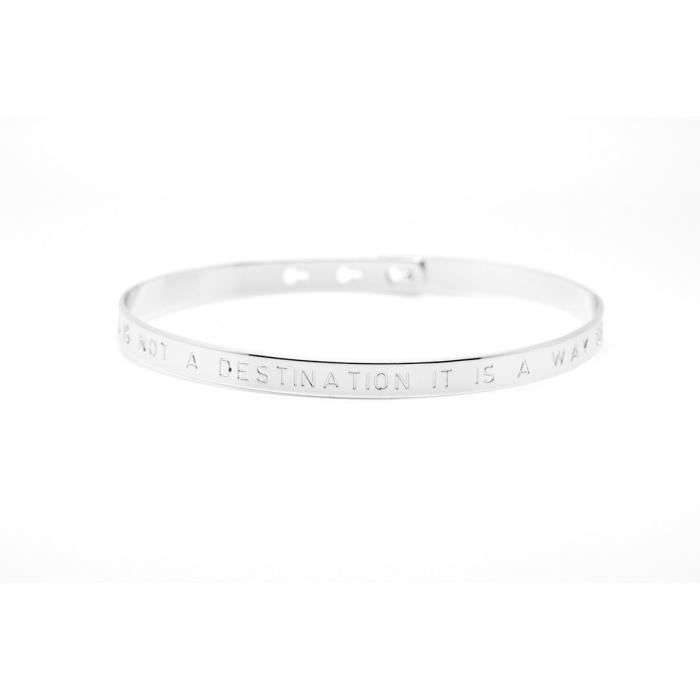 Mya Bay - Bracelet jonc Happiness is not a destination it is a way of life (JC-01.S) argenttaille -
