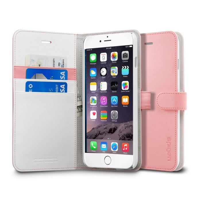 etui folio spigen wallet s eco iph6 6s plus rose achat. Black Bedroom Furniture Sets. Home Design Ideas