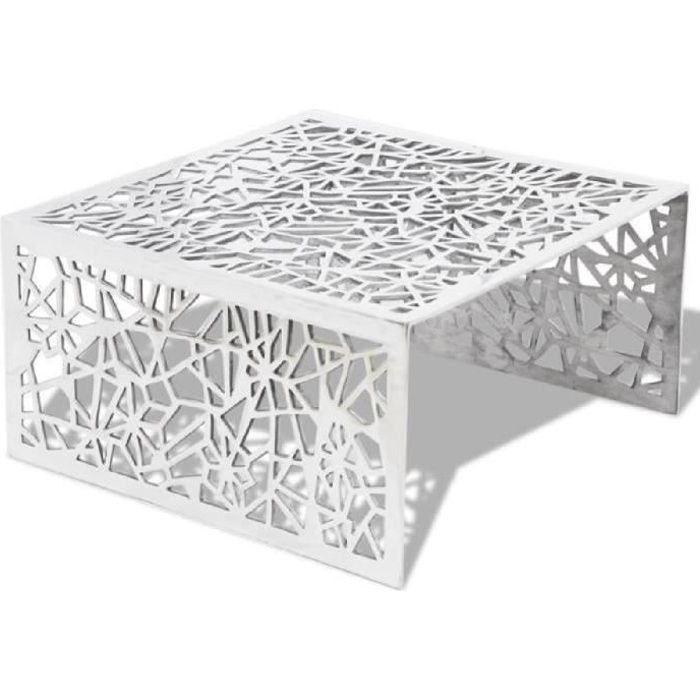 table basse en aluminium avec design g om trique ajour. Black Bedroom Furniture Sets. Home Design Ideas