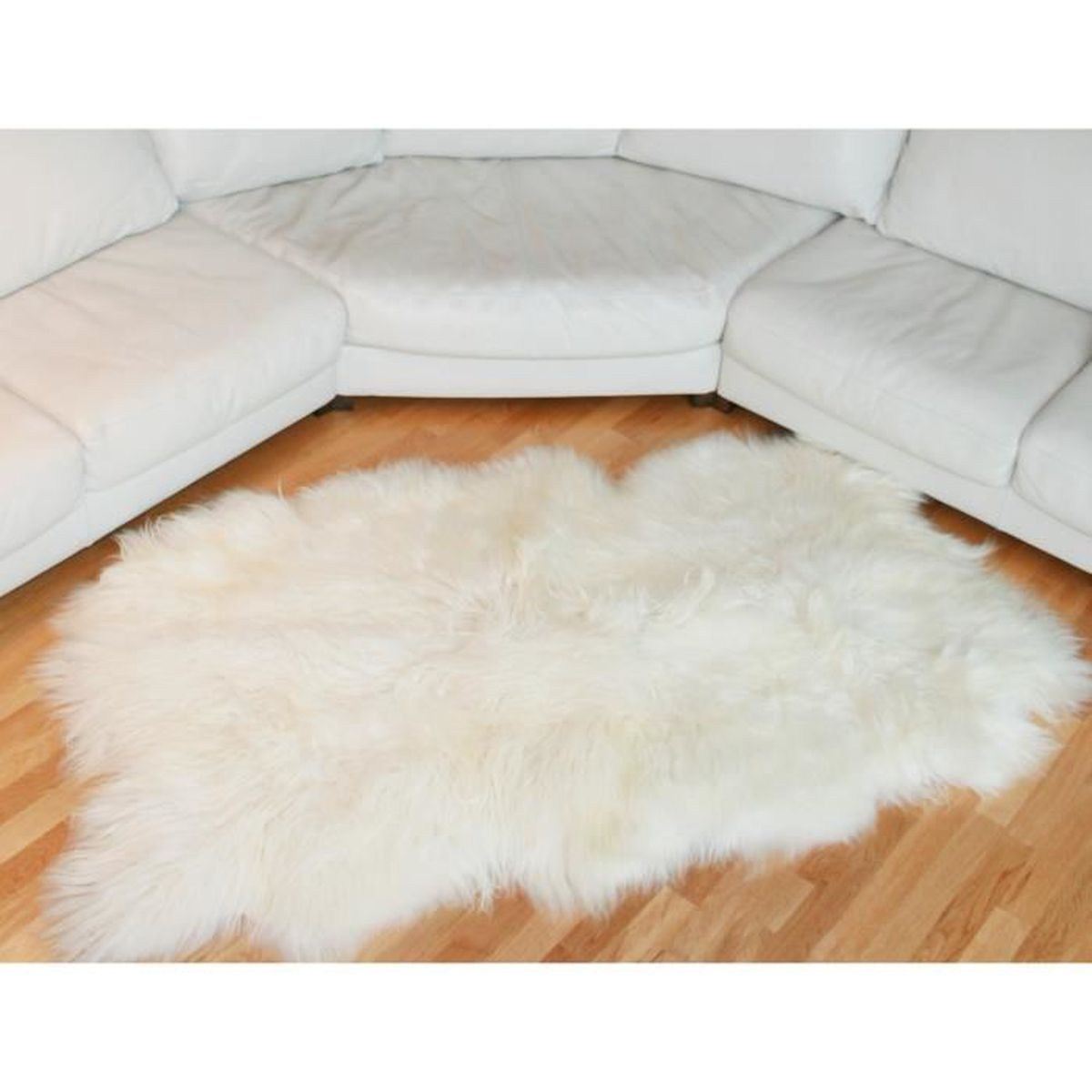 tapis en peau de mouton islandais blanc achat vente tapis cdiscount. Black Bedroom Furniture Sets. Home Design Ideas