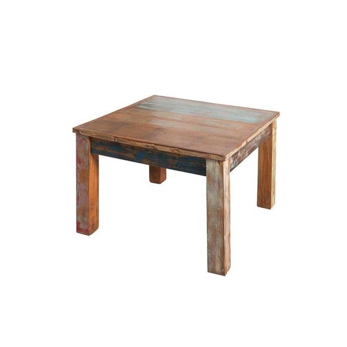 Table basse 7 cm en bois massif recyclé coloris multi-couleur