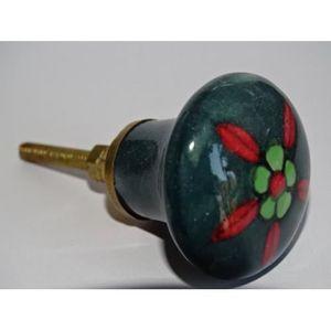 POIGNÉE - BOUTON MEUBLE bouton en porcelaine vert foncé avec fleur rouge e