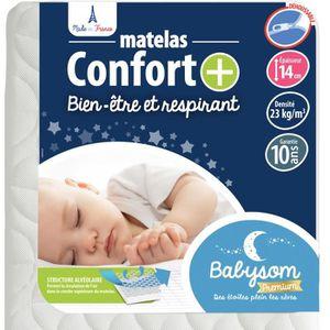 MATELAS BÉBÉ Babysom - Matelas Bébé Confort+ - 60x120cm - Ultra