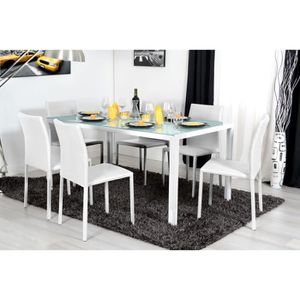 Table a manger blanc laque design achat vente table a for Table sejour design