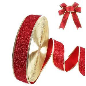 Noël Papier cadeau-ruban métallisé bord doré-rouge ruban satin-Vert Bordure