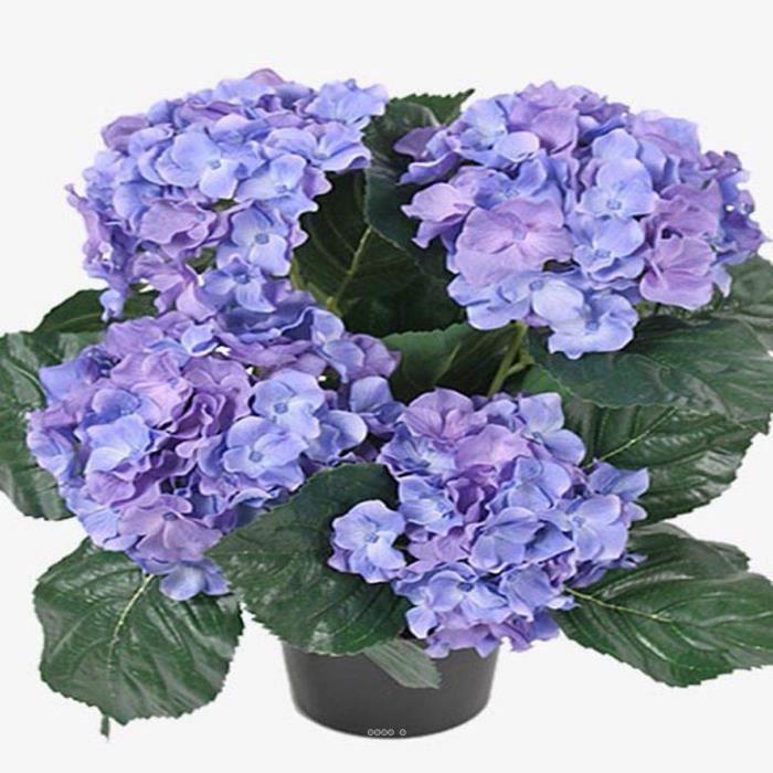 Hortensia en pot artificiel leste H 40 cm 5 superbes tetes Bleu royal