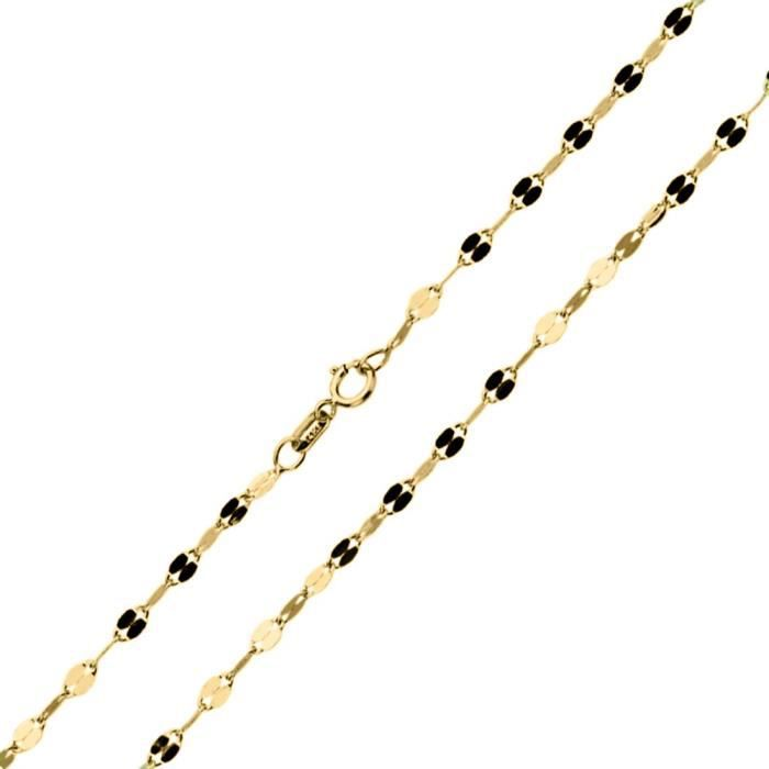Chaine De Cou Vendue Seule 14K chaîne en or jaune Femmes 2 mm Brillant double miroir Collier de chaîne (16, 18, 20 pouces) V9UM2