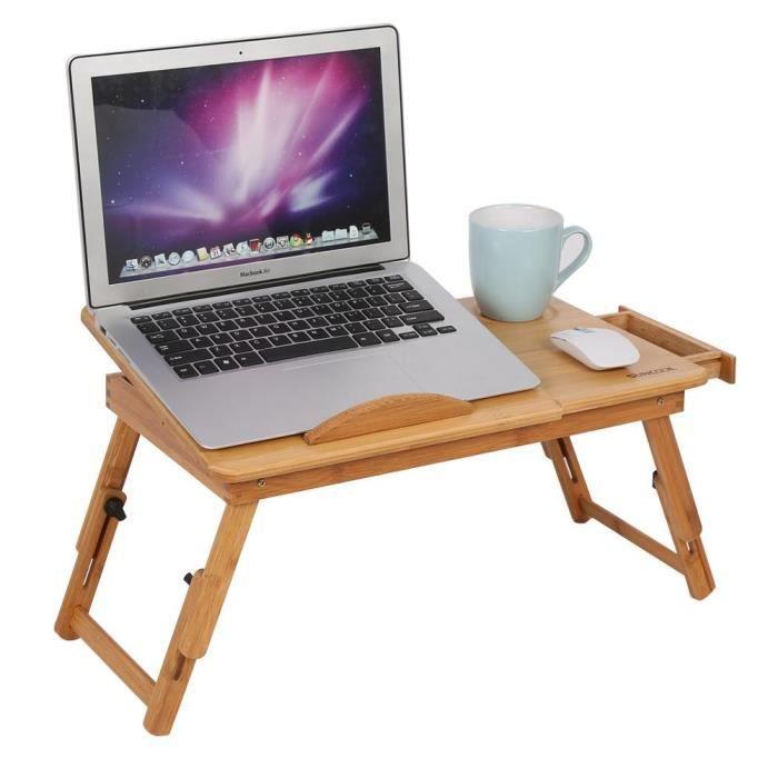1 Pc Support pour ordinateur portable réglable Bambou Rack Étagère Dortoir Bureau Deux Fleurs Livre Plateau De Lecture Stand Tip